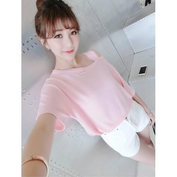 夏裝 大碼女裝性感 斜露肩吊帶上衣服寬松甜美短袖T shirt