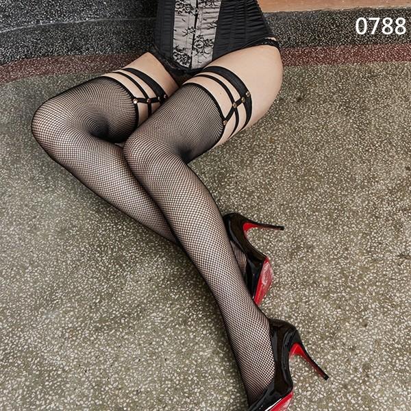 ~縷空鉚釘綑綁風~大腿襪長筒款性感黑色網紗超薄蕾絲高筒襪過膝長筒吊帶襪0788