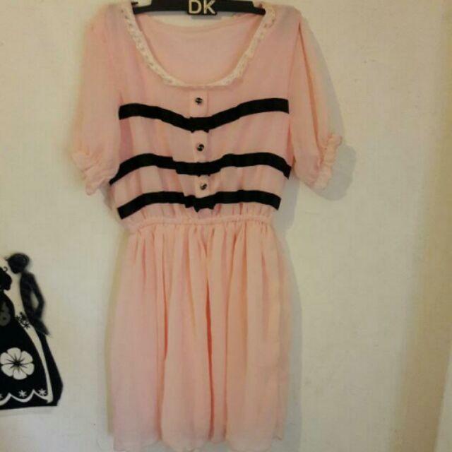 購入甜美蝴蝶結粉色雪紡小洋裝