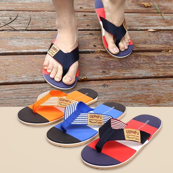 男款夾腳沙灘拖鞋尺寸41 45 橘色藍色紅色