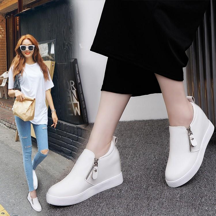 2016 白色女鞋 內增高休閒鞋平底側拉鏈懶人鞋黑色女士單鞋