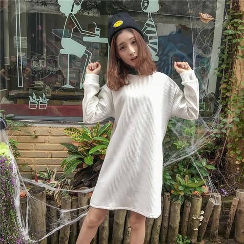 ▲连衣裙▲實拍拼色小高領寬松中長款套頭衛衣女豎條紋白色連衣裙