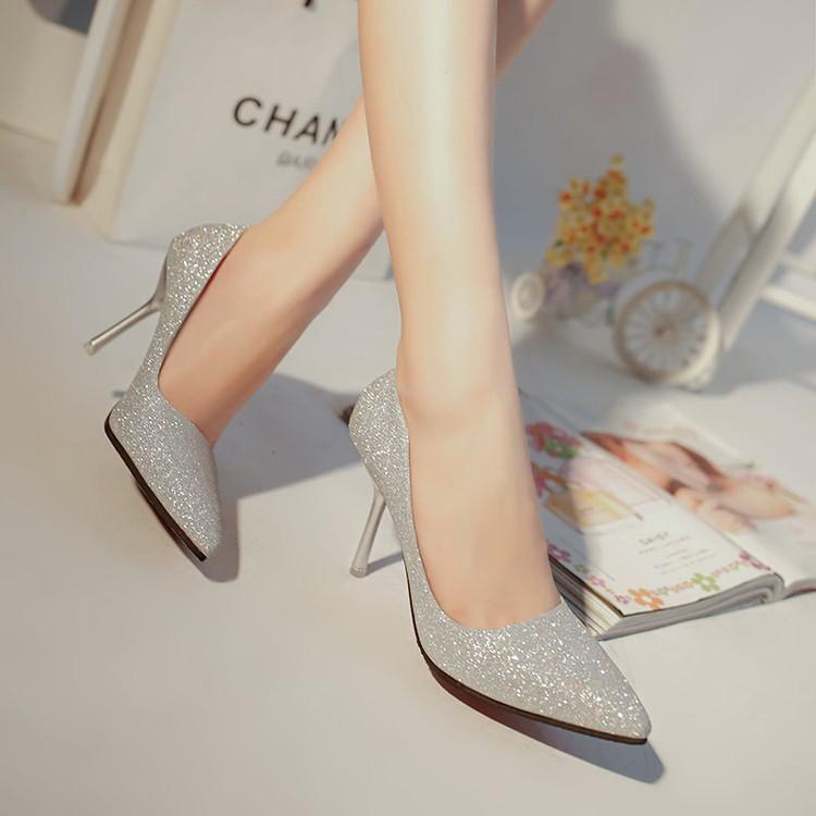 春秋款女鞋尖頭高跟鞋細跟淺口真皮單鞋淑女性感亮片銀色新娘婚鞋