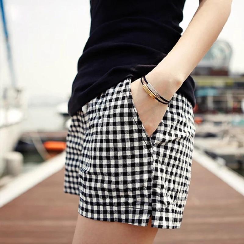 高腰格子短褲女褲夏天休閒褲薄款顯瘦寬鬆大碼闊腿女士熱褲