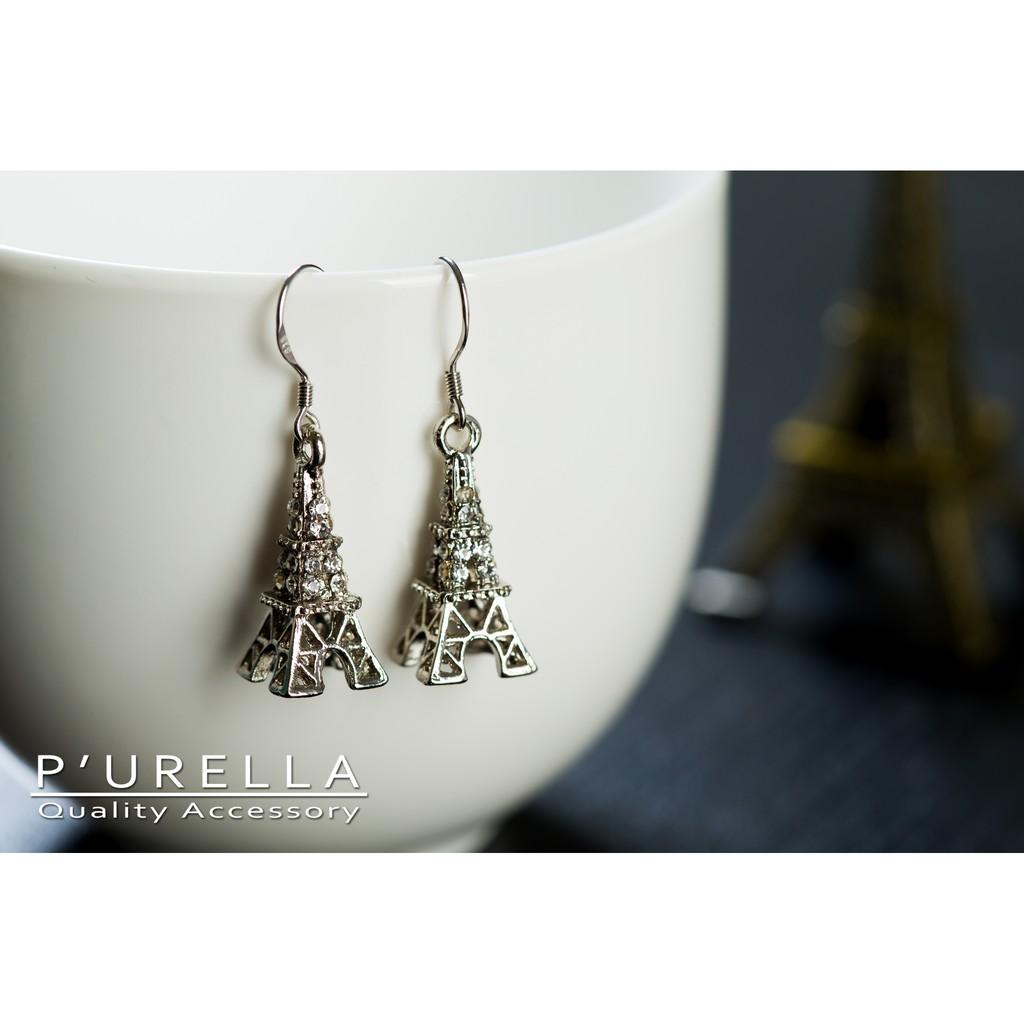 ~P urella 布拉拉~浪漫巴黎鐵塔簡約百搭耳環耳針耳勾耳夾隱形耳夾
