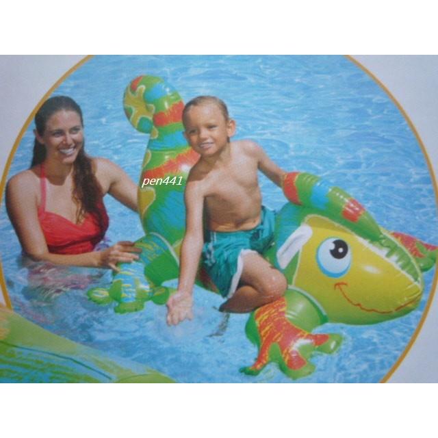 玩樂 美國INTEX 56569 彩色蜥蜴充氣坐騎動物 坐騎有手把兒童夏天玩水游泳戲水 大
