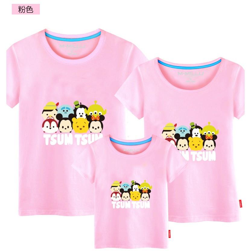 遊戲公仔圖案純棉短袖T 恤 親子裝家庭裝全家福裝母子裝母女裝父子裝情侶裝班服團體服(米奇妮
