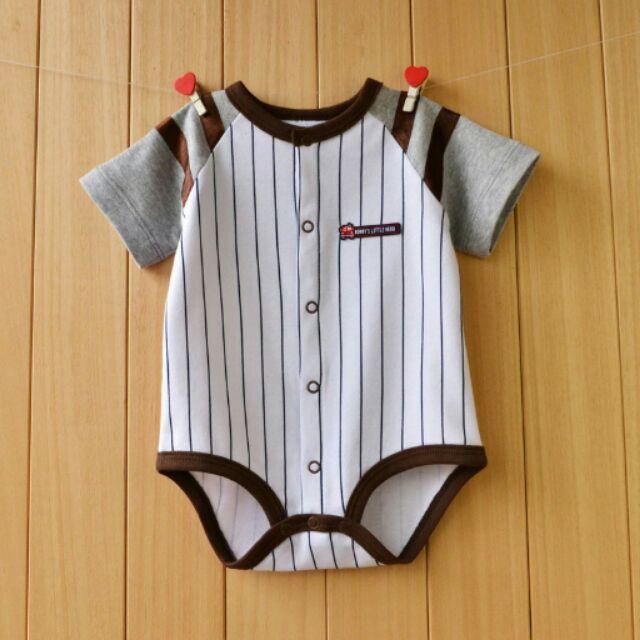 看詳細棒球風直紋灰袖連身衣