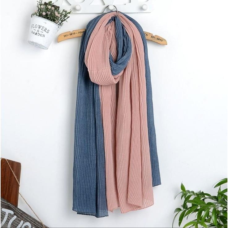 雙色拼接壓皺棉麻民族風圍巾披肩斗篷Z1002 新品 ~部分需追加