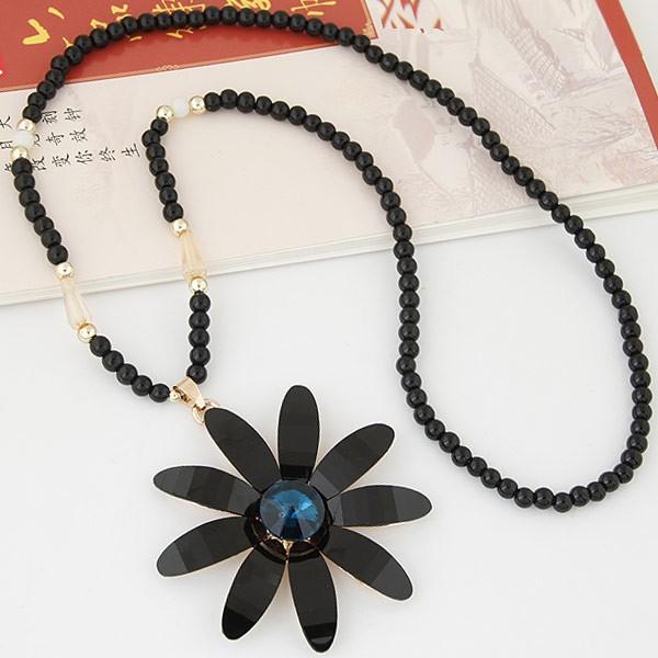 1723 韓國直送花朵黑珠長項鍊黑色米色