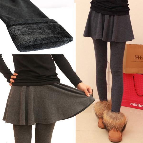 人魚朵朵~ 素面假兩件褲裙厚款波浪褲裙~冬天假兩件式內刷毛包臀內搭褲裙加厚加絨珍珠絨棉質窄
