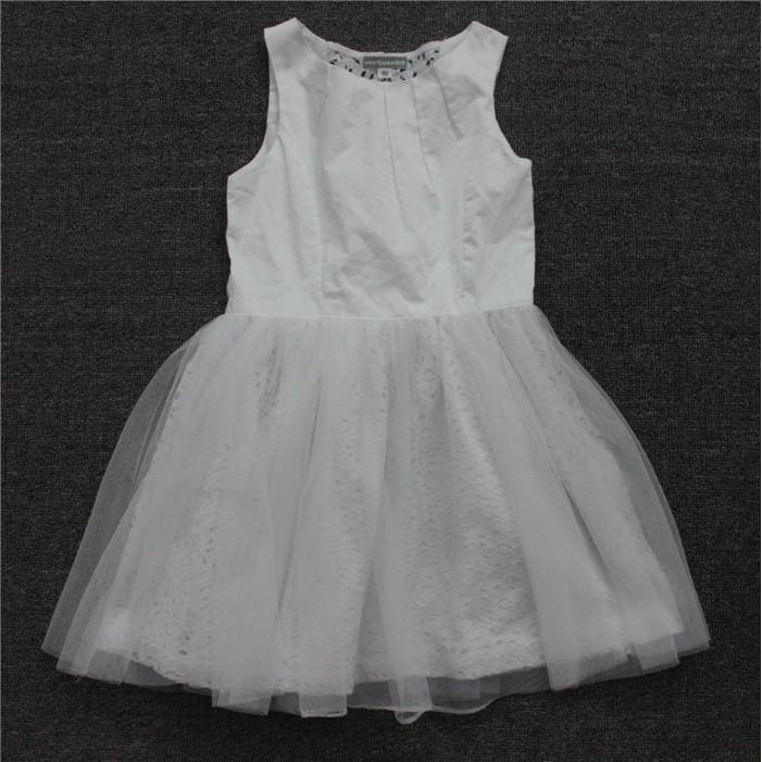 外貿法國vertbaudet 女中童純棉白紗洋裝、禮服94 156CM 白