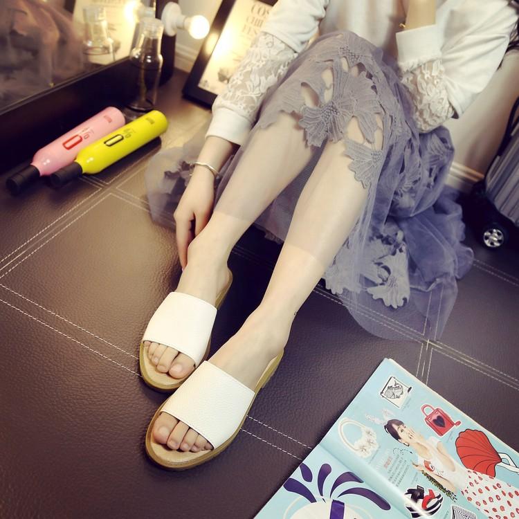 2016  白色露趾平底平跟一字拖復古踩線簡約防滑女士涼拖鞋厚底拖鞋居家拖鞋 拖鞋休閒拖鞋