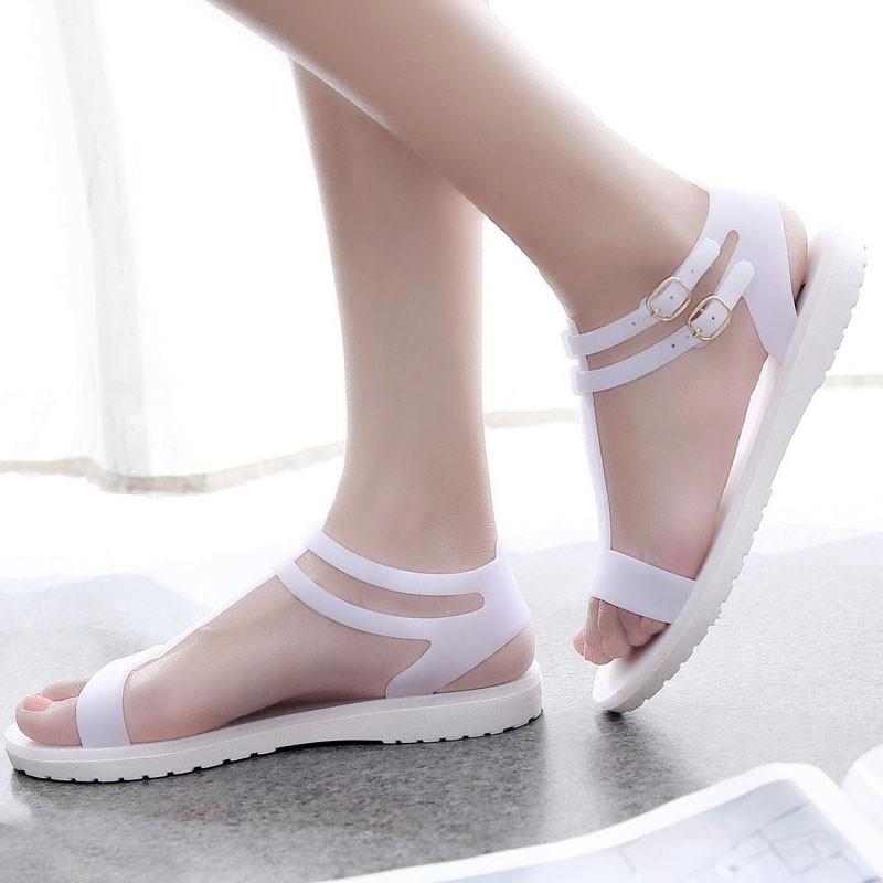 簡約學生涼鞋女防滑厚底t 字平底露趾涼鞋羅馬鞋果凍鞋