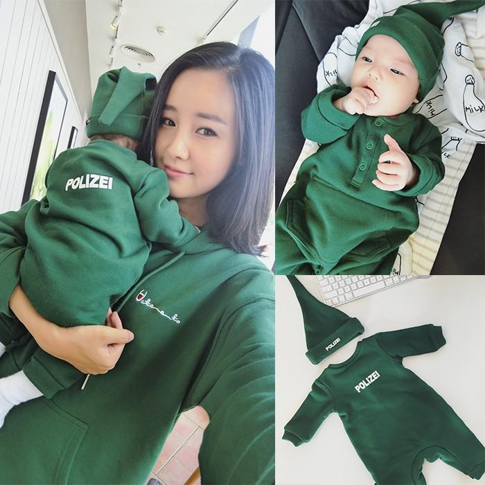 男童女童嬰兒寶寶兔裝連身服潮牌帽踢親子上衣