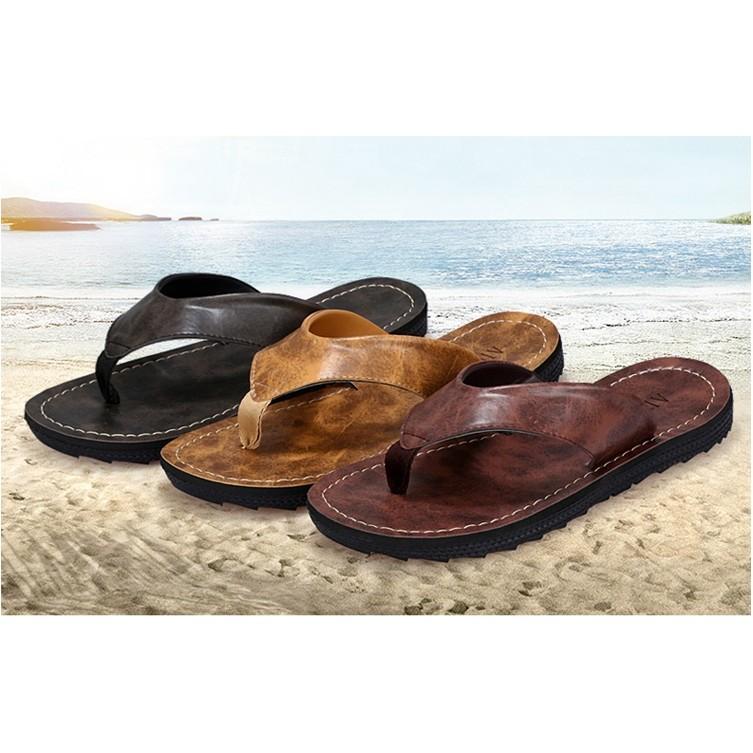男士人字拖英倫風夾腳皮拖鞋防滑沙灘鞋