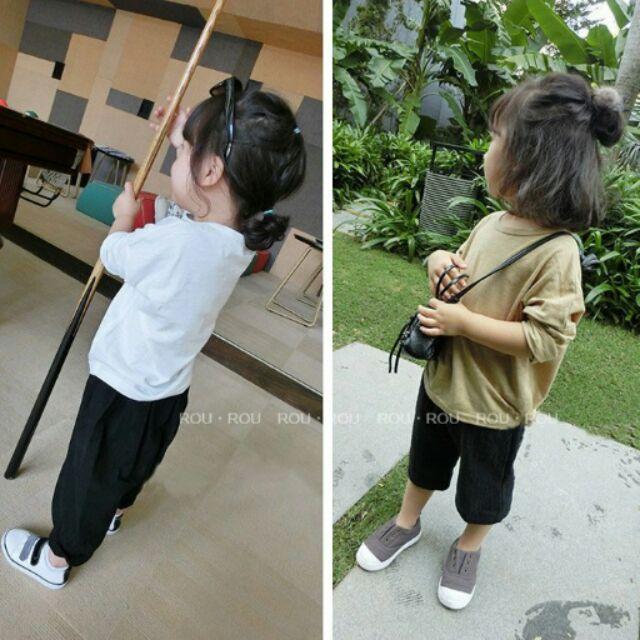 ROUROU 秋·男女童中大童竹節棉純色長袖T 恤0331 059