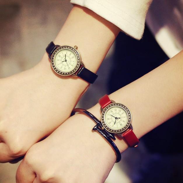 創時代3C 專營店韓國森女 復古皮帶小清新氣質女表日 簡約圓盤學生 手表