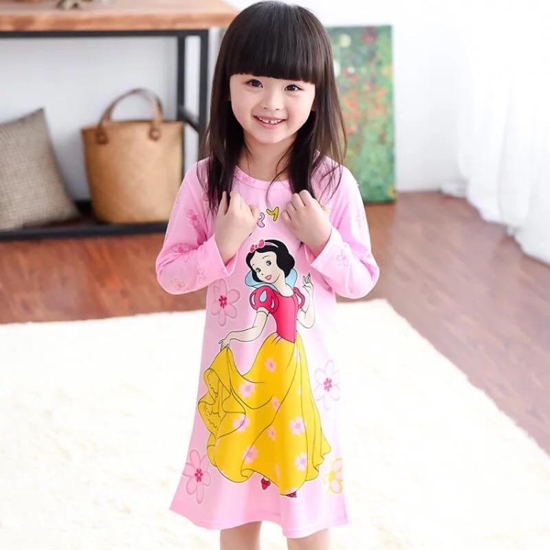 兒童睡衣純棉長袖款春 女童睡裙女孩家居服小孩寶寶公主裙