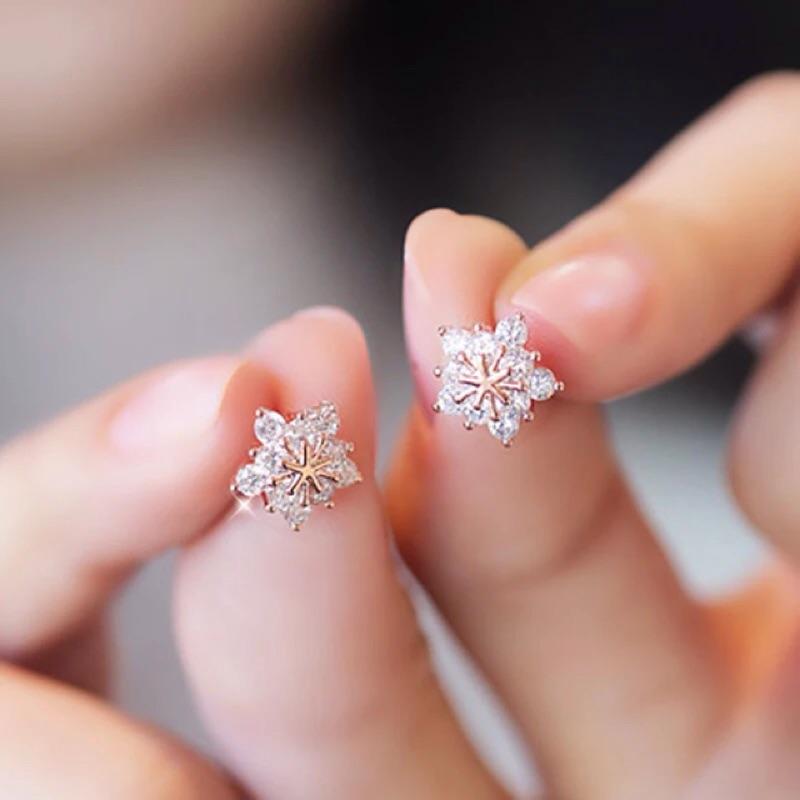 韓國花朵雪花鋯石耳釘女925 純銀耳針小巧可愛耳環 耳飾防過敏