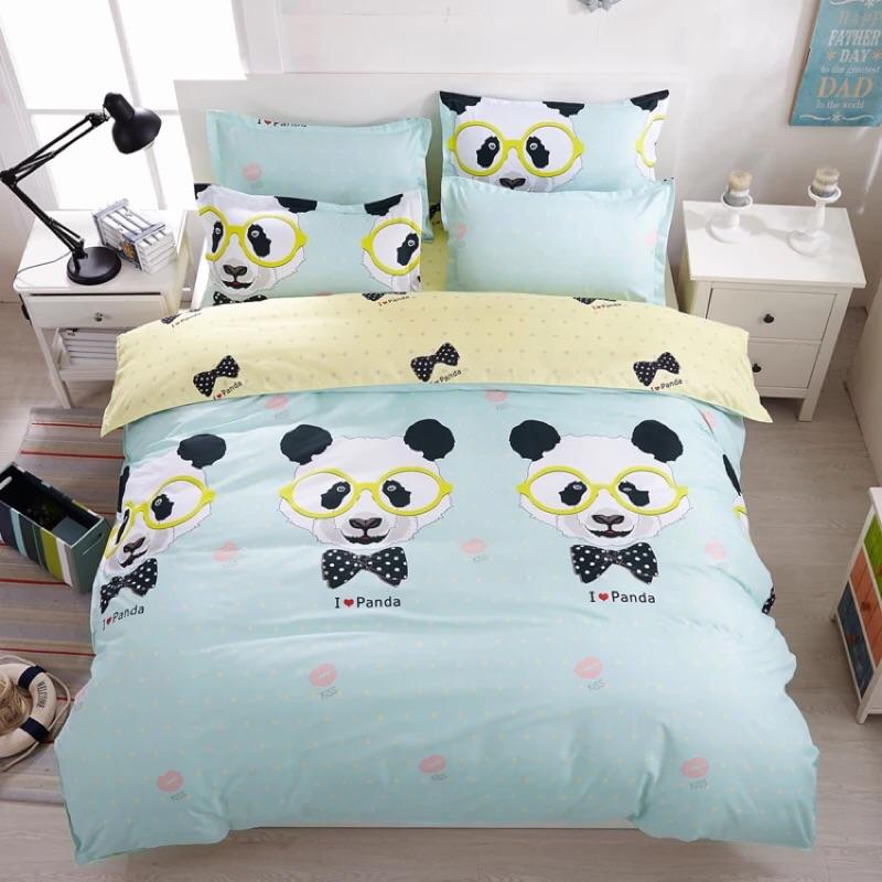 ! !貓熊熊貓多款棉質雙人床包床單四件組