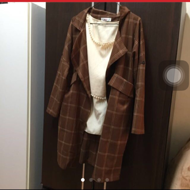 韓國東大門 復古格子口袋休閒中長款棉麻西裝外套