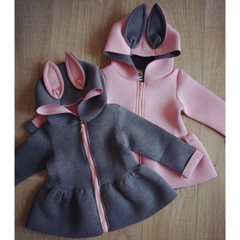 女童兔耳外套女寶寶外套可愛外套兔耳朵兔寶寶兒童外套撞色外套