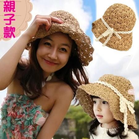 Accn19 韓國貨女童草帽大帽簷 編織遮陽帽簍空蕾絲帶唯美寶寶帽兒童親子草帽C6015
