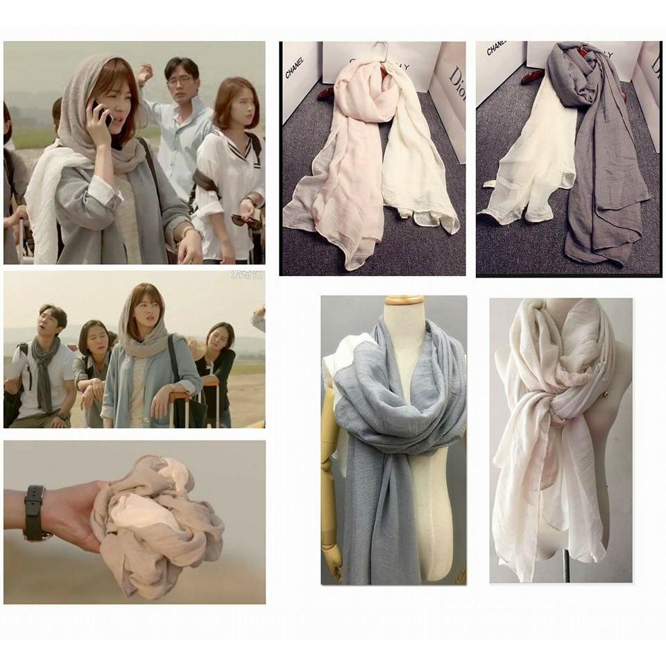韓劇太陽的後裔喬妹同款拼接棉麻圍巾 ,送收納麻布袋