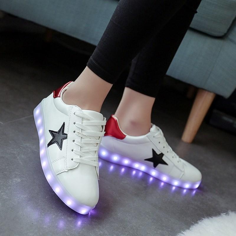 ~ ~最 春 閃光燈發光鞋七彩螢光情侶usb 充電led 燈光夜光鞋男女款板鞋