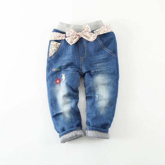 ~耐心等候~2016 年 外貿 女兒童牛仔褲棉褲夾棉加厚保暖長褲棉褲子