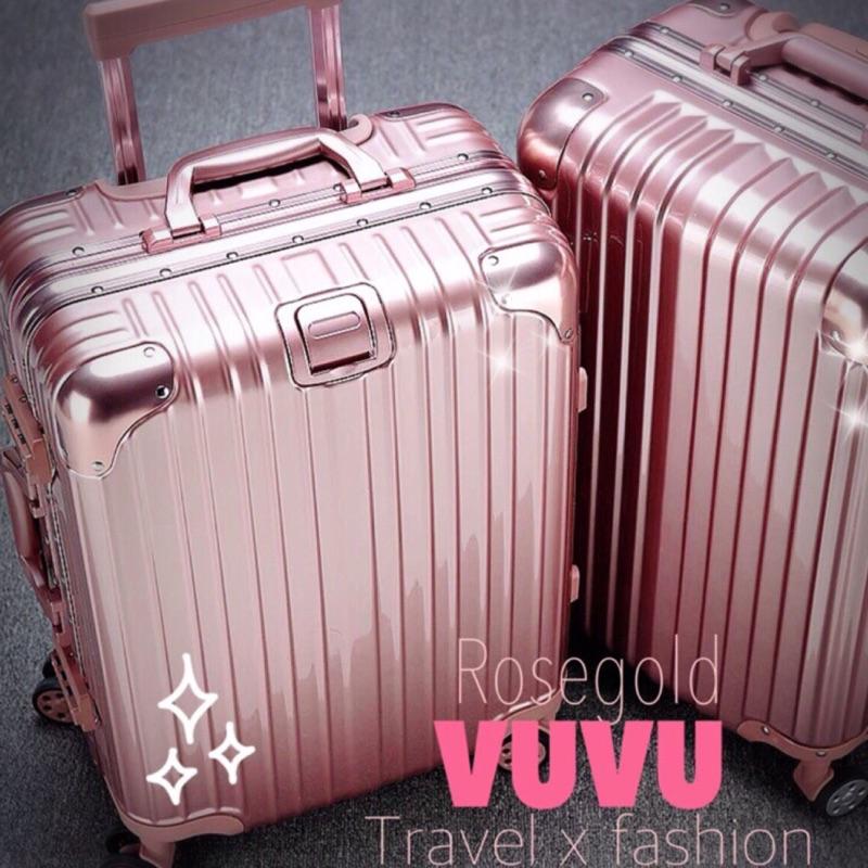 大降價Rimowa 同款高端 玫瑰金鋁框鋁合金行李箱登機箱20 24 26 29 寸 雙拼