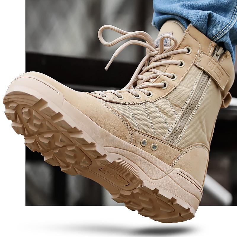 高 SWAT 軍靴男特種兵作戰靴側拉式拉鍊戶外登山靴