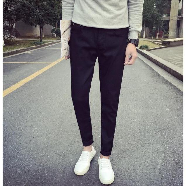 2016 裝 牛仔褲男士彈力修身純色小腳男褲子休閒哈倫潮長褲