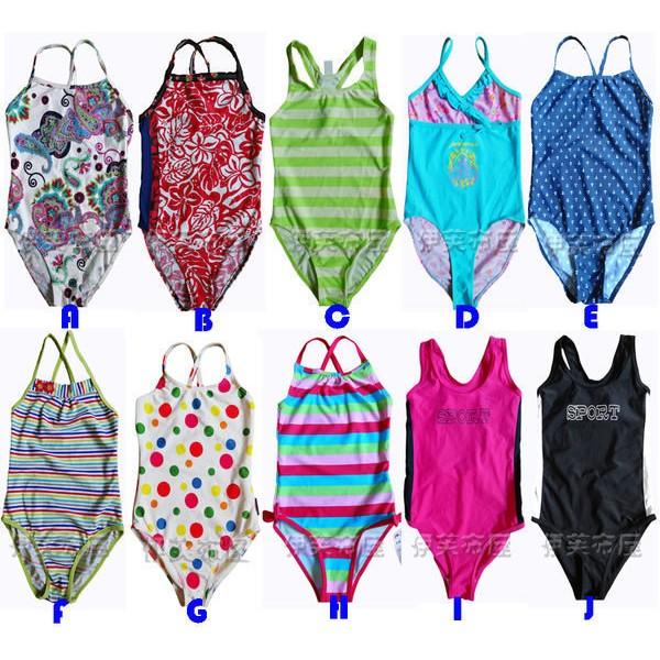 女童多花色彩色條紋SPORT 連身泳裝泳衣泡湯