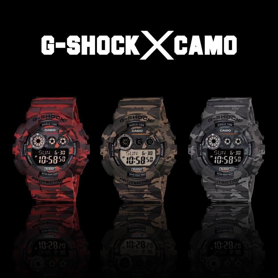 秀CASIO 手錶G SHOCK 大錶徑GD 120CM 紅綠灰迷彩新 耐衝擊構造