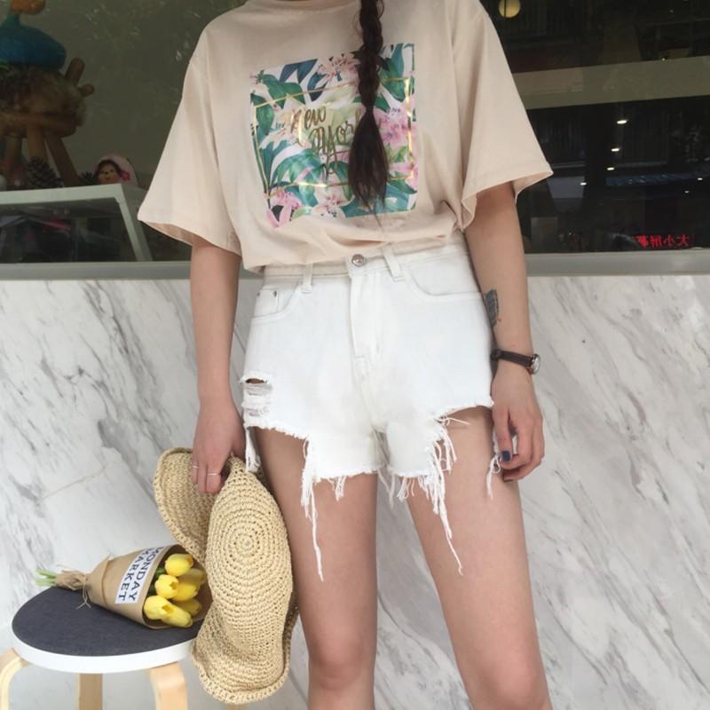 加大 正韓休閒 夏裝 黑白色水洗 破洞毛邊牛仔短褲女高腰顯瘦直筒熱褲