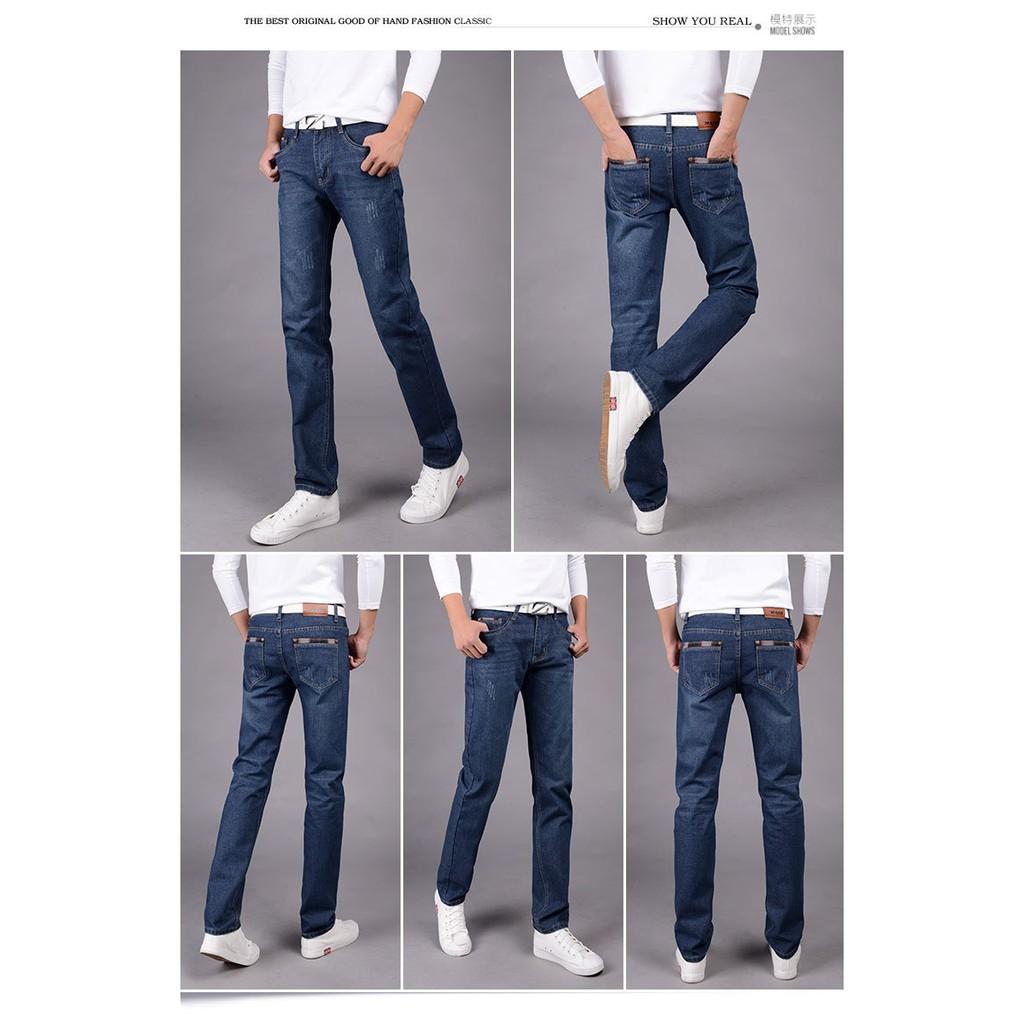 男式牛仔褲修身直筒 男褲青年休閒 男裝長褲子 一件代發