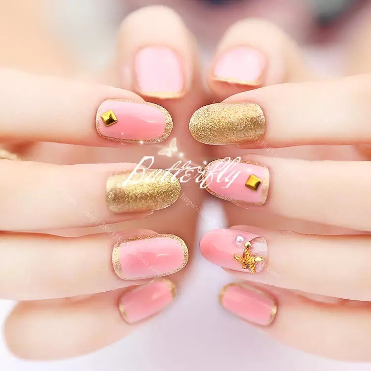 2017vivi nail 日系成品短款美甲海星貼片假指甲20 片盒裝