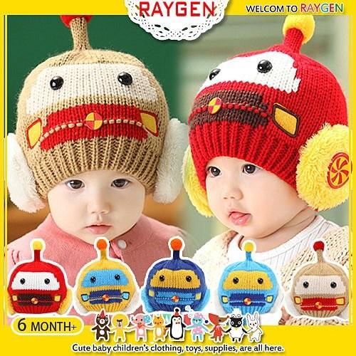 機器人 針織嬰兒保暖毛線帽護耳帽~2Y055X416 ~