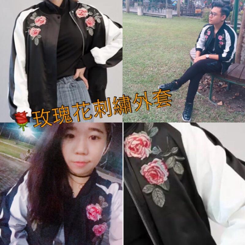 超激 今年最夯日韓刺繡玫瑰外套橫須賀刺繡玫瑰薄外套擋風外套素面外套寬鬆棒球外套MA1