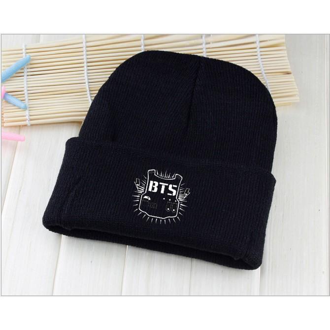 東大需 k201 BTS 盾牌毛線帽黑色防彈少年同款原宿黑色毛線帽男女情侶帽子