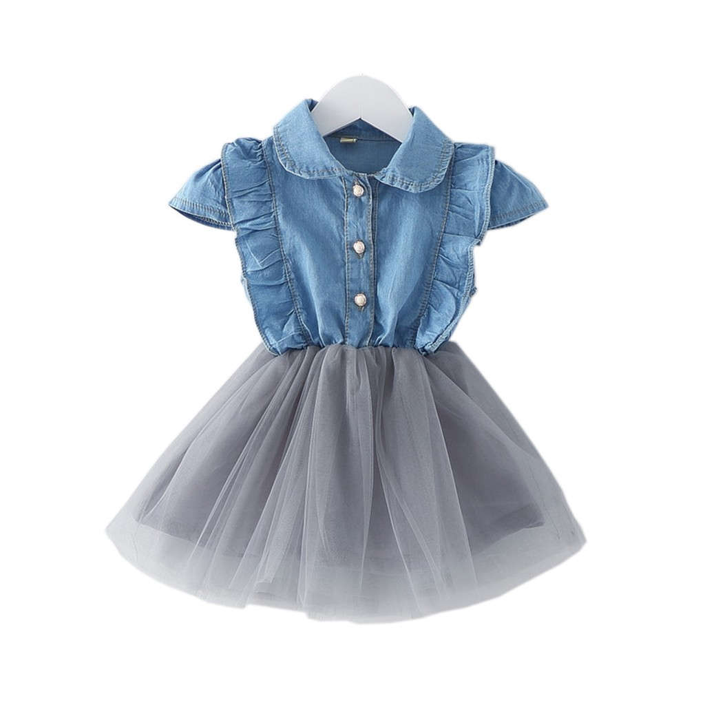 女童裙子夏裝嬰兒 6 個月以上灰色網紗牛仔布洋裝連身裙