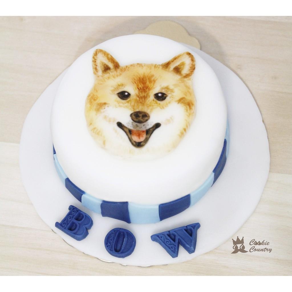 CookieCountry 柴犬毛小孩生日蛋糕客製化蛋糕翻糖蛋糕4寸單層