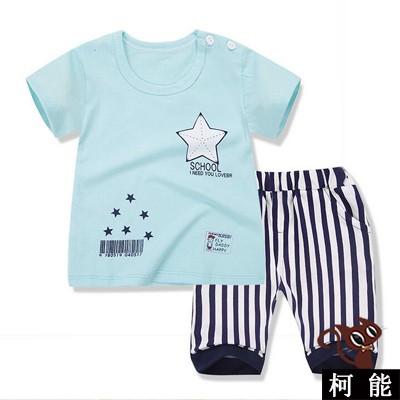 套裝~7046 ~ 兒童純棉短袖T 恤印花舒適上衣修身顯瘦七分短褲寶寶套裝