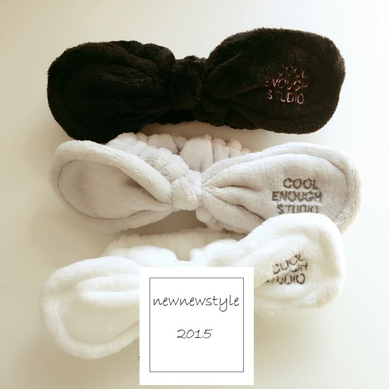 newnewstyle ~1223134 ~韓可愛髮飾英文刺繡兔耳朵打結髮箍洗臉髮帶 直播