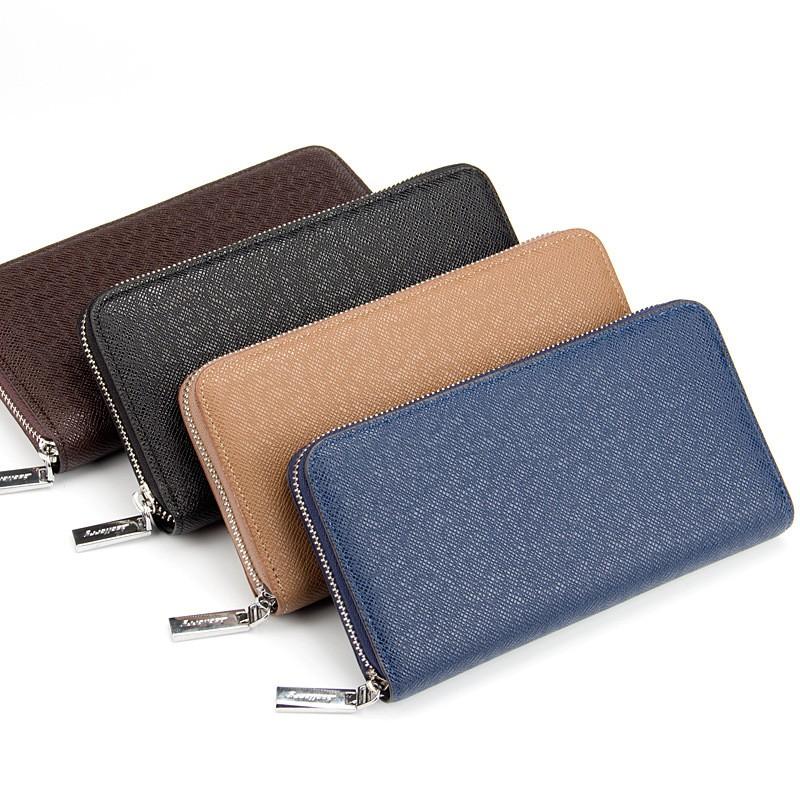 男士錢包長款拉鍊手機包女士手包十字紋手拿包錢夾潮MWT1392