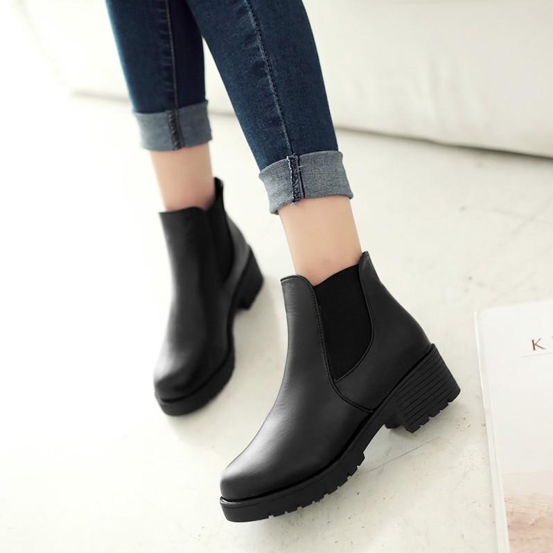 圓頭短靴粗跟及踝靴中跟休閒切爾西靴及踝靴一腳蹬女靴子裸靴短靴長靴雨靴雪靴過膝靴靴子裸靴短靴