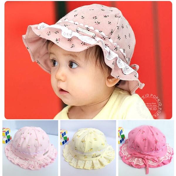 可愛女寶碎花蕾絲花邊防曬遮陽帽