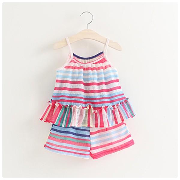 新品彩色條紋荷葉邊吊帶短褲兩件套田園風女童清涼度假套裝
